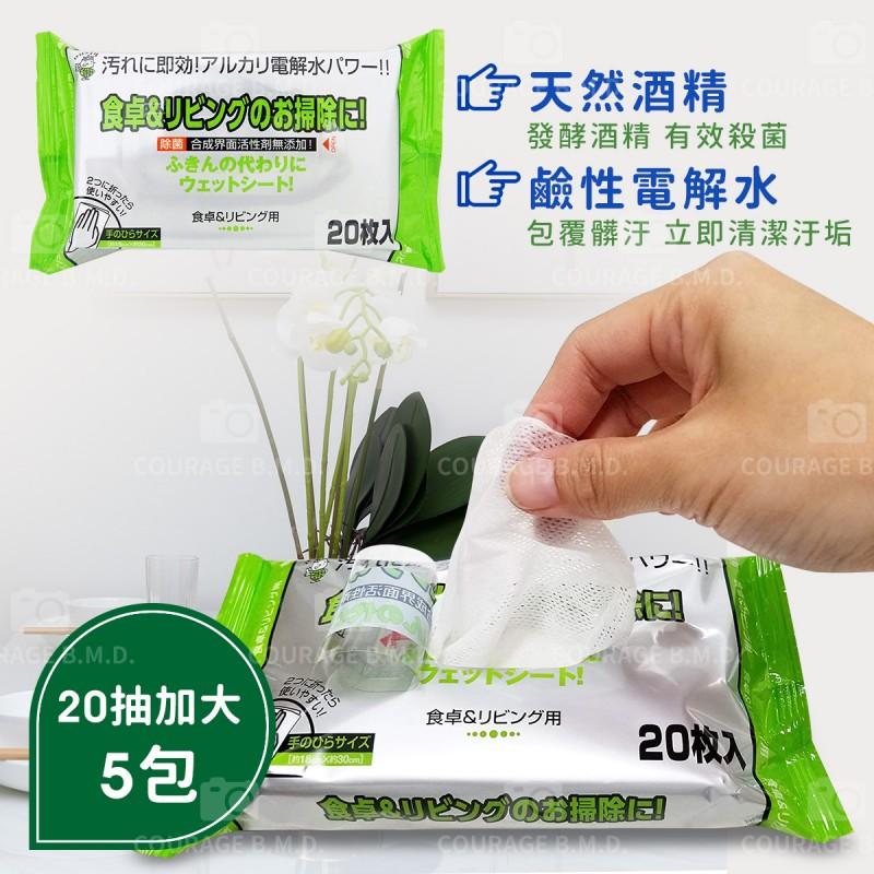 日本製 玩具清潔 餐桌茶几髒汙對策!天然鹼性電解水濕紙巾5包組(20枚入/包)大尺寸18X30cm
