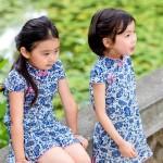 兒童古風旗袍-四季款〔墨染青瓷〕