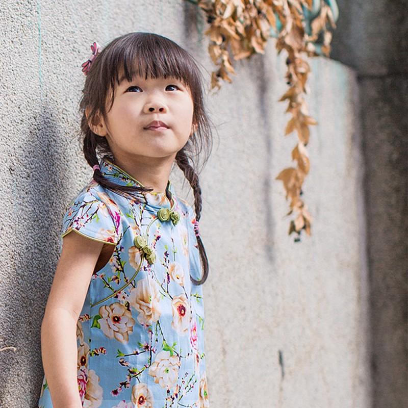兒童旗袍 古風 秋季款〔花系列淺藍款〕
