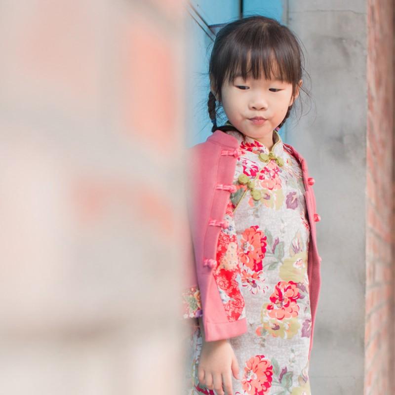 兒童古風旗袍  冬季款〔花系列牡丹-2Colors〕