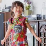 兒童旗袍 古風 四季款〔花系列翠綠款〕