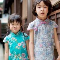 兒童古風旗袍-四季款〔蕾絲花朵-粉綠〕