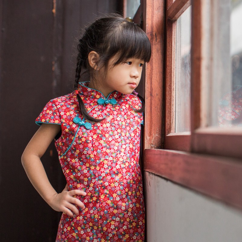 兒童古風旗袍  冬季款〔金蔥碎花〕