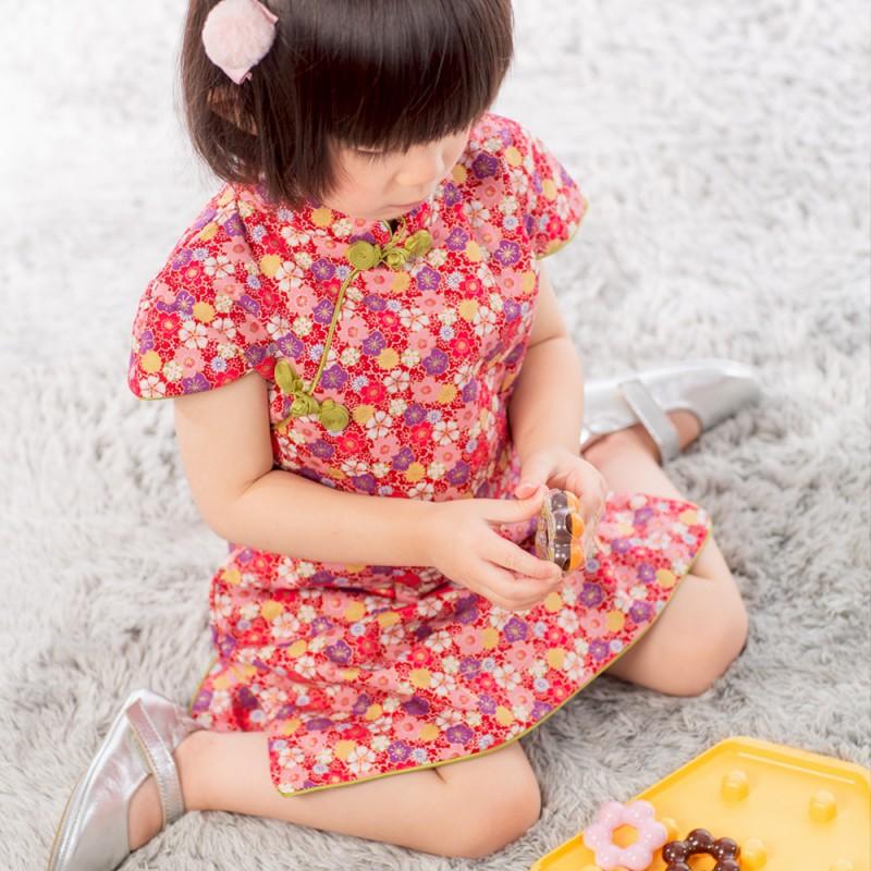 【買1送衣】兒童旗袍 古風 冬季款〔碎花和風〕