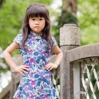 兒童古風旗袍-四季款〔紫羅相依〕
