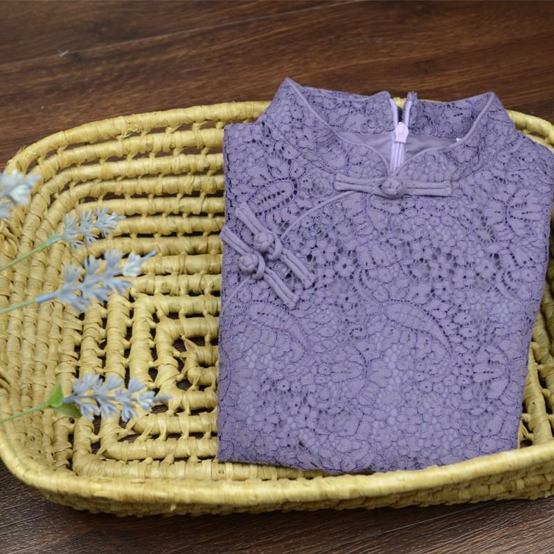 兒童旗袍 古風 四季款〔蕾絲素色-紫色〕
