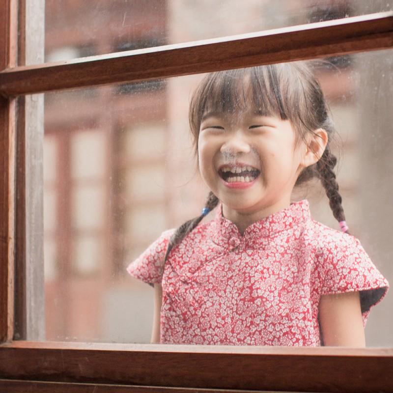 兒童旗袍 古風 冬季款〔紅色喜福〕