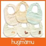 hugmamu 三層精燒魔力紗森林夥伴-動物刺繡 圍兜(日本製)