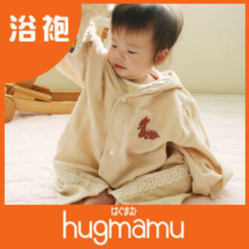 hugmamu 三層精燒魔力紗森林夥伴-動物刺繡 浴袍(日本製)